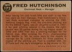1962 Topps #172 NRM Fred Hutchinson  Back Thumbnail