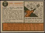 1962 Topps #202  Carl Warwick  Back Thumbnail