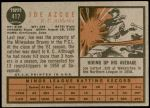 1962 Topps #417  Joe Azcue  Back Thumbnail