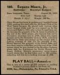 1939 Play Ball #160  Gene Moore  Back Thumbnail