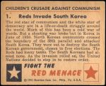 1951 Bowman Red Menace #1   Reds Invade South Korea Back Thumbnail