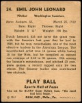1941 Play Ball #24  Dutch Leonard  Back Thumbnail