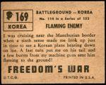 1950 Topps Freedoms War #169   Flaming Enemy Back Thumbnail