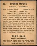 1941 Play Ball #25  Gene Moore  Back Thumbnail