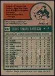 1975 Topps #287  Roric Harrison  Back Thumbnail