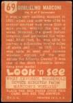 1952 Topps Look 'N See #69  Guglielmo Marconi  Back Thumbnail