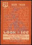 1952 Topps Look 'N See #29  Mark Twain  Back Thumbnail