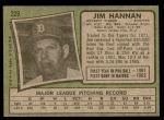 1971 Topps #229  Jim Hannan  Back Thumbnail