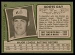 1971 Topps #42 LGT Boots Day  Back Thumbnail