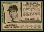 1971 Topps #397  Al Dark  Back Thumbnail