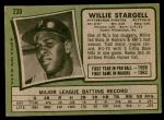 1971 Topps #230  Willie Stargell  Back Thumbnail