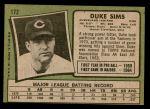 1971 Topps #172  Duke Sims  Back Thumbnail