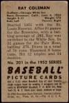 1952 Bowman #201  Ray Coleman  Back Thumbnail
