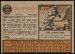 1962 Topps #425  Carl Yastrzemski  Back Thumbnail