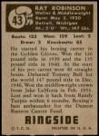 1951 Topps Ringside #43  Sugar Ray Robinson  Back Thumbnail