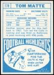 1968 Topps #178  Tom Matte  Back Thumbnail