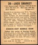 1948 Leaf #38  Jack Sharkey  Back Thumbnail
