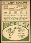 1968 Topps #128  Gary Collins  Back Thumbnail