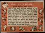 1958 Topps #436   -  Willie Mays / Duke Snider Rival Fence Busters Back Thumbnail
