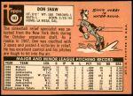 1969 Topps #183 COR Don Shaw  Back Thumbnail