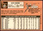 1969 Topps #256  Gates Brown  Back Thumbnail