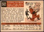1959 Topps #512  George Altman  Back Thumbnail