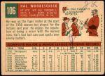 1959 Topps #106  Hal Woodeshick  Back Thumbnail