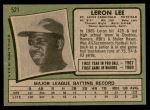 1971 Topps #521  Leron Lee  Back Thumbnail