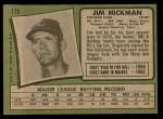 1971 Topps #175  Jim Hickman  Back Thumbnail