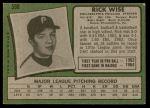 1971 Topps #598  Rick Wise  Back Thumbnail