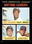 1971 Topps #61   -  Alex Johnson / Tony Oliva / Carl Yastrzemski AL Batting Leaders  Front Thumbnail