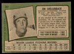 1971 Topps #351  Jim Shellenback  Back Thumbnail