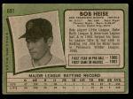 1971 Topps #691  Bob Heise  Back Thumbnail