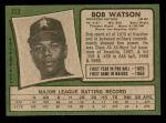 1971 Topps #222  Bob Watson  Back Thumbnail