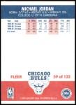 1987 Fleer #59  Michael Jordan  Back Thumbnail