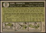 1961 Topps #54  Earl Francis  Back Thumbnail