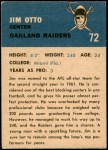 1962 Fleer #72  Jim Otto  Back Thumbnail