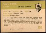 1961 Fleer #157  Paul Lowe  Back Thumbnail
