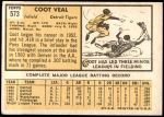 1963 Topps #573  Coot Veal  Back Thumbnail