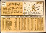 1963 Topps #441  Lee Thomas  Back Thumbnail