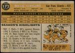 1960 Topps #172  Willie Kirkland  Back Thumbnail