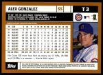 2002 Topps Traded #3 T Alex Gonzalez  Back Thumbnail