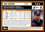 2002 Topps Traded #24 T Earl Snyder  Back Thumbnail