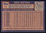 1984 Topps #35  Don Sutton  Back Thumbnail