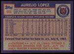 1984 Topps #95  Aurelio Lopez  Back Thumbnail