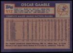 1984 Topps #512  Oscar Gamble  Back Thumbnail