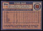 1984 Topps #536  Doug Bair  Back Thumbnail