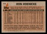 1983 Topps #113  Ron Roenicke  Back Thumbnail