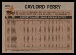 1983 Topps #463  Gaylord Perry  Back Thumbnail