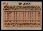1983 Topps #601  Ed Lynch  Back Thumbnail